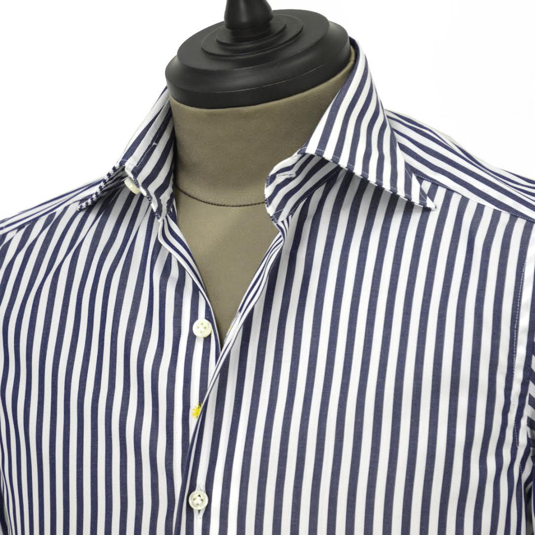 Giannetto【ジャンネット】ドレスシャツ SLIM FIT 8B27830L66 003 blue label コットン ロンドンストライプ ホワイト ネイビー