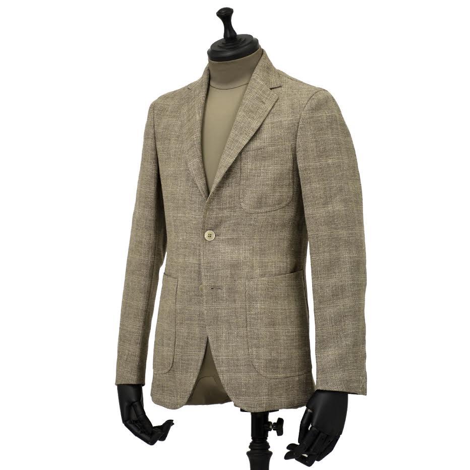 THE GIGI【ザ ジジ】シングルジャケット ANGIE H022 350 ウール リネン ポリウレタン チェック ベージュ