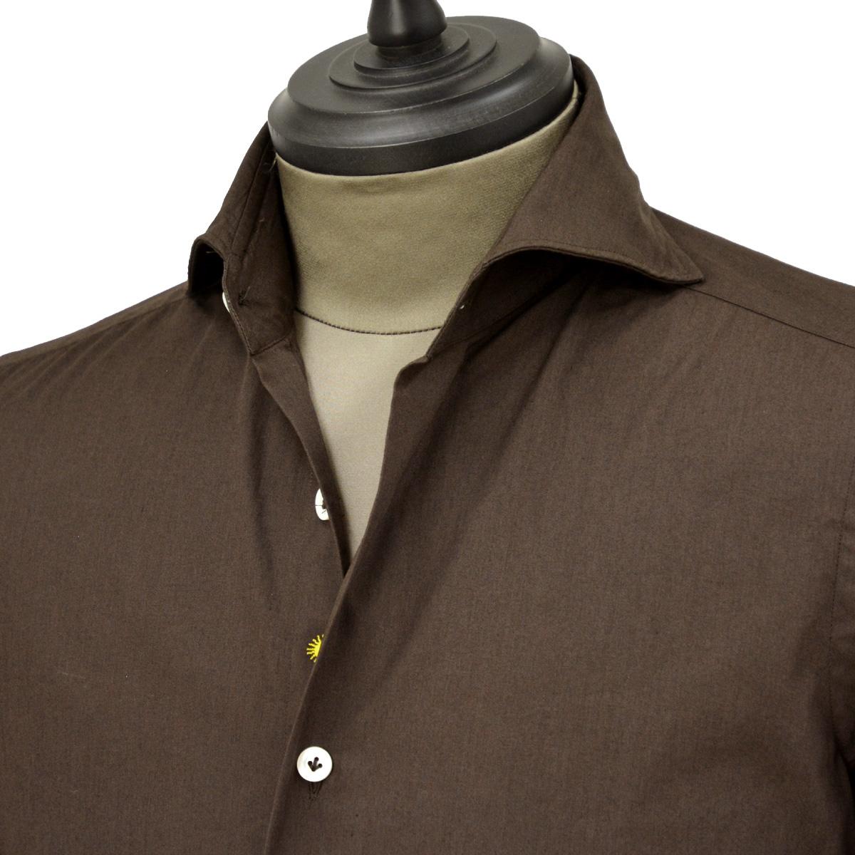 Giannetto【ジャンネット】カジュアルシャツ SLIM FIT 9G10330L84 008 ポプリン ブラウン
