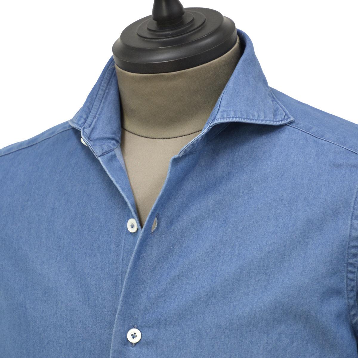 Giannetto【ジャンネット】カジュアルシャツ SLIM FIT 9G35030L84 C01 デニム ウォッシュドブルー